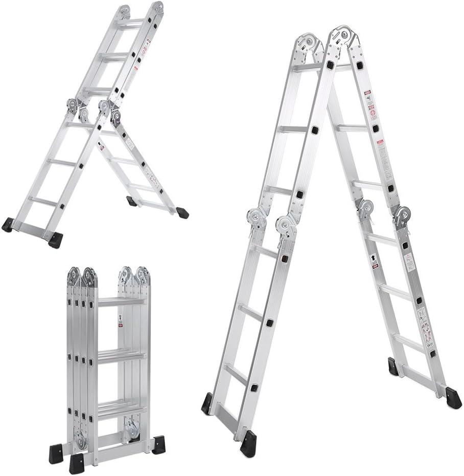 iKayaa AM0112A - Escalera Plegable 7 En 1 Multifunción Extensible,Max.150kg,12 Peldaños(Pasado EN131-Parte 4:2007 Estándar): Amazon.es: Hogar