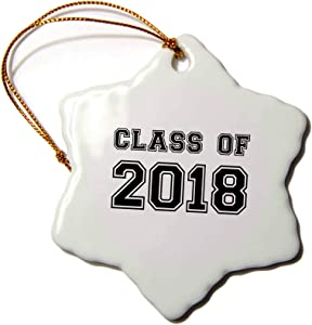 3dRose InspirationzStore Typography - Class of 2018 - Graduation Gift - Graduate Graduating high School University or College Grad Black - 3 inch Snowflake Porcelain Ornament (ORN_162669_1)