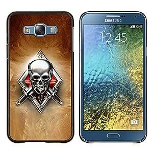 KLONGSHOP // Cubierta de piel con cierre a presión Shell trasero duro de goma Protección Caso - Esqueleto Crest - Samsung Galaxy E7 E700 //