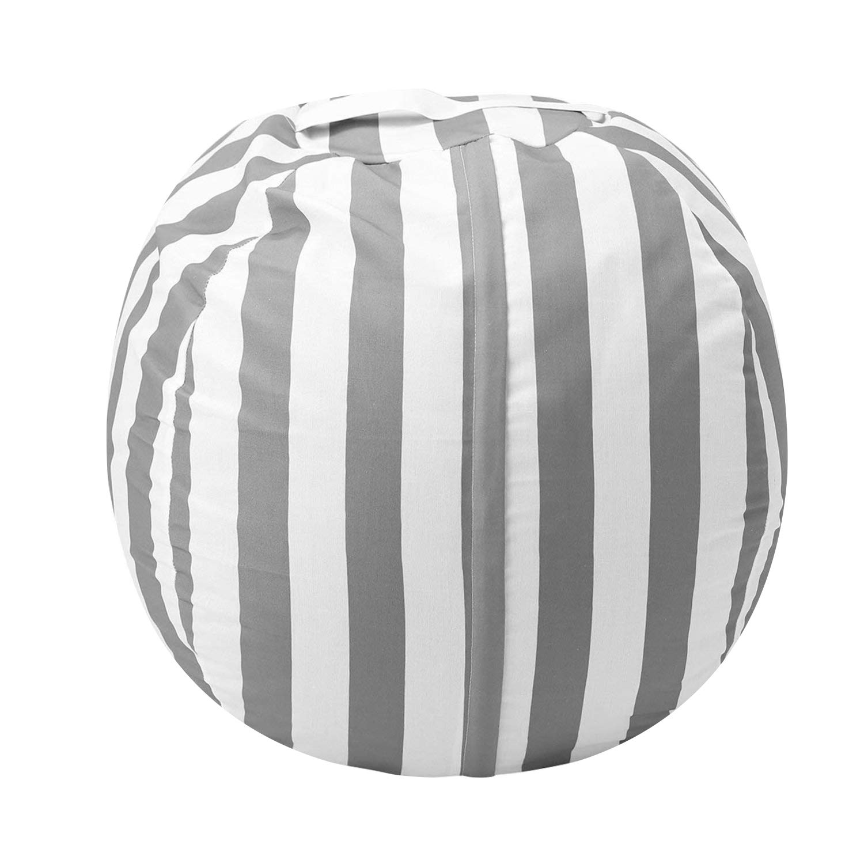 Stuffed Animal Storage Bean Bag Chair, Zooawa Kids Bedroom Organizer for Plush Cuddly Jumbo Animal Toys - 32'', Grey + White Stripe
