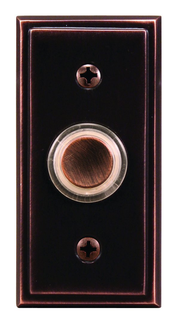 Heath Zenith SL-602-02 Wired Push Button with Recessed Mount and Halo-Lighted Center, Antique Copper