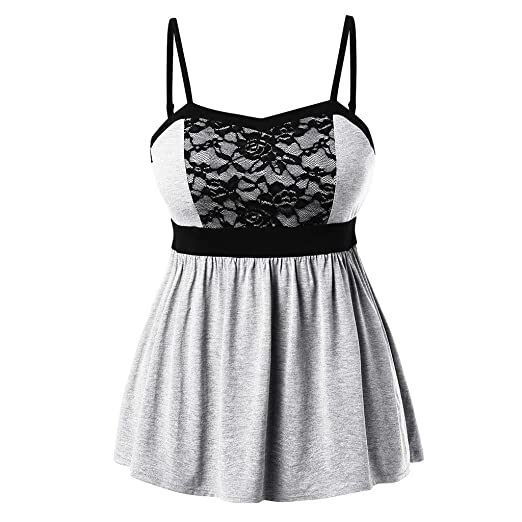5f2d7e85d5 Tank Tops for Women Sleeveless Lace Patchwork Backless Pleated Plus Size  Summer Tunic Camisole at Amazon Women's Clothing store: