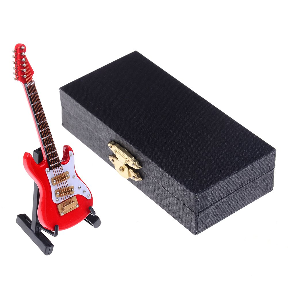 DALU.A.F 3.94' Miniature Guitar Replica - Mini Rock Electric Guitar Wooden Model Collectible Musical Instrument Models Artware Opening Gifts Home Decoration, with Stand Support and Case (Red) Towering Arrogant Tr GOMASINSUD63894