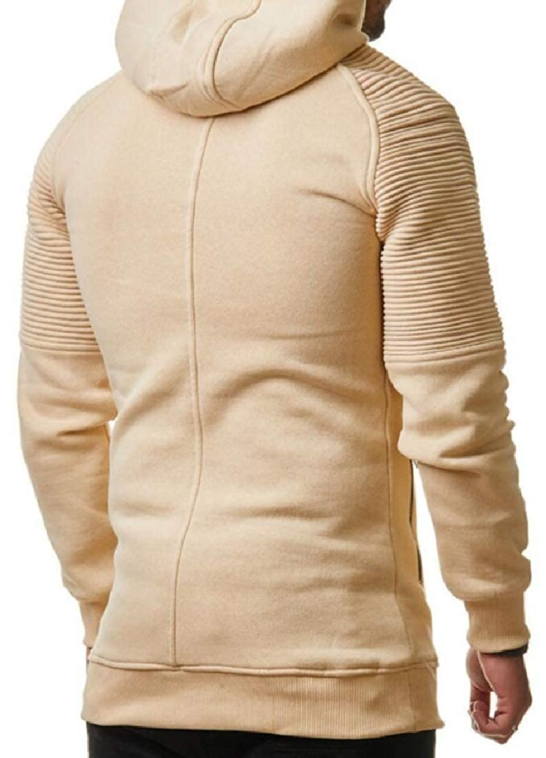 Generic Mens Fashion Hoodies Ruched Solid Color Hip-Hop Hooded Pullover Sweatshirts