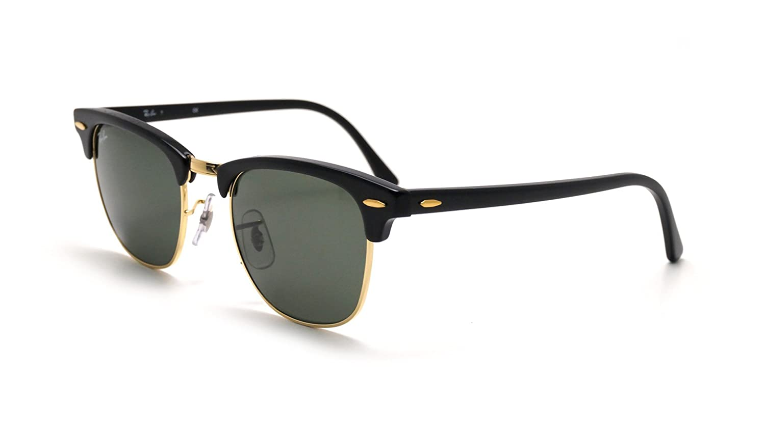 dae2b68c46 Amazon.com  Ray Ban Sunglasses Clubmaster RB3016 W0365 Ebony Black Arista  Gold Crystal Green