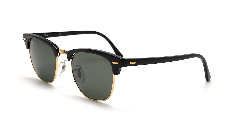 1d0ea49a2b Amazon.com  Ray Ban Sunglasses Clubmaster RB3016 W0365 Ebony Black Arista  Gold Crystal Green