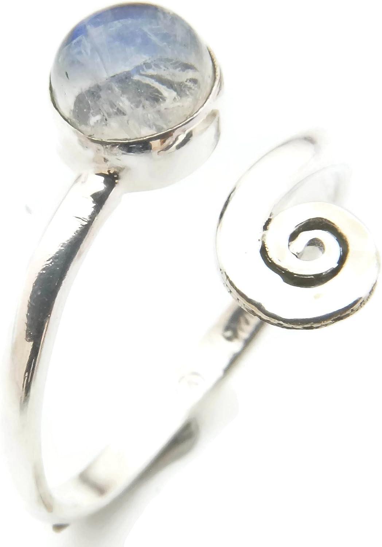 Anillo de plata de ley 925 Piedra de luna verstellbar (No: MRI 102)