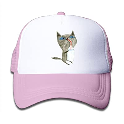 Ooiilpe Children's Grid Cap Cartoon Drinking Milk Cat Kid's Cute Cool Fitted Mesh Cap with Adjustable Snapback Strap Hat