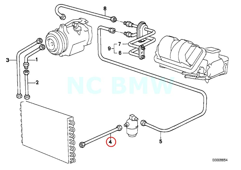 BMW Genuine Condenser-Dryer Pressure Hose Assy