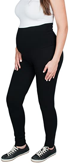 c0a055b43b727 Maternity Cotton Leggings Pants, Fold Over Waist Band Over/Under Belly at  Amazon Women's Clothing store: