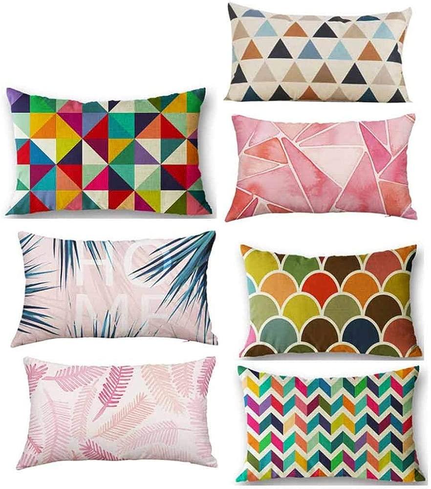 JiaMeng Cojines Geométrico Decorativa Almohadas Fundas para Sofá Cama Sala de Estar Rectángulo Cojín de Seda Cojín