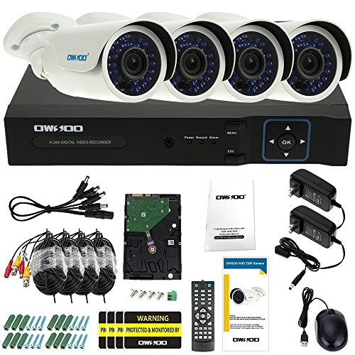 OWSOO 4ch Channel Full 1080N/720P 1500TVL AHD DVR Security System P2P Cloud Network Digital Video Recorder + 1TB HDD + 4720P Outdoor CCTV Camera + 460ft Surveillance Cable