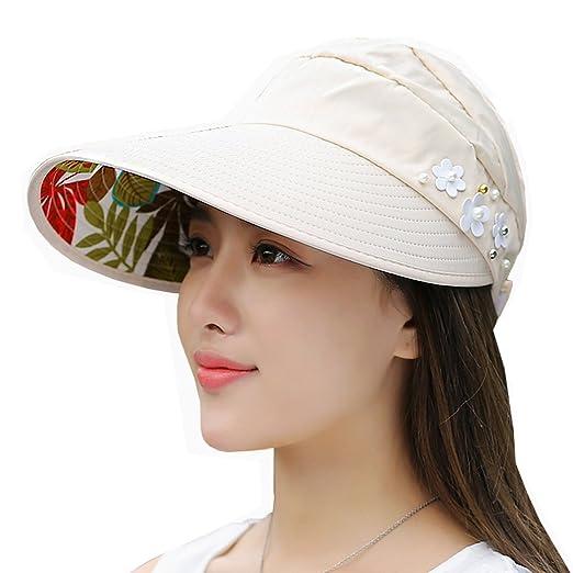465777c979b Lujuny Women Flower Sun Visor Hat - Summer UV Protection Ponytail Baseball  Cap for Beach Travel