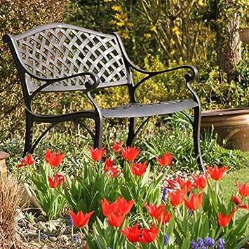 Lazy Susan Banc De Jardin En Aluminium Jasmine Coloris Bronze