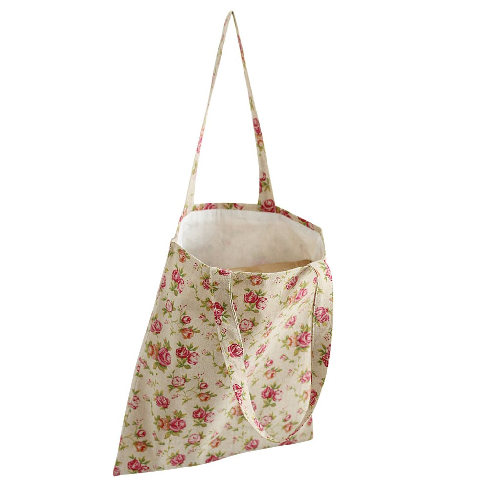 Caixia Womens Pink Rose Canvas Tote Shopping Bag Beige