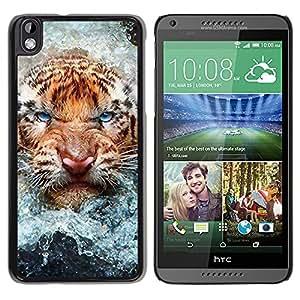 Qstar Arte & diseño plástico duro Fundas Cover Cubre Hard Case Cover para HTC DESIRE 816 ( Angry Cat Tiger Water Nature Animal)