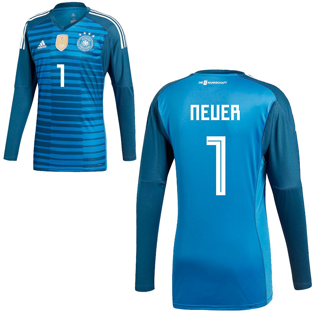 Adidas DFB Deutschland Torwart Trikot Home WM 2018 Herren Kinder Manuel Neuer 1 blau Farbe Neuer-Torwart, Größe 152