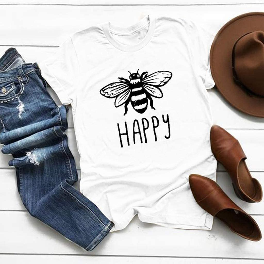 Shusuen Bees Shirt Tees for Women Letter Print Environment Shirts Summer Casual Beekeeping Tops