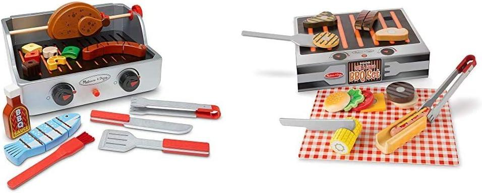 Melissa & Doug Rotisserie & Grill Barbecue Set & Wooden Grill & Serve BBQ Set