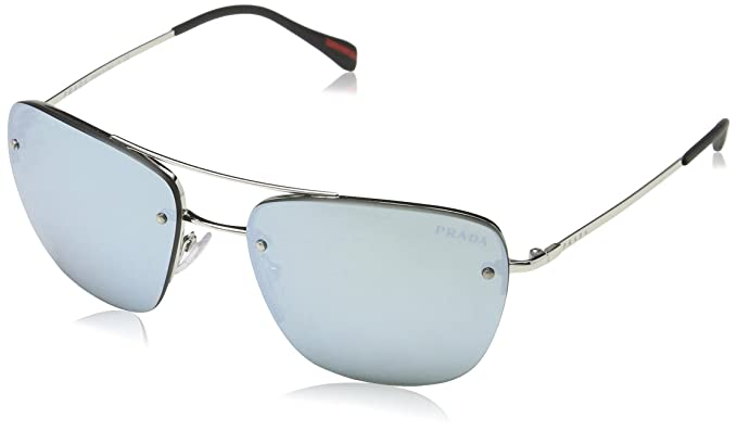 47ae8324a965 Image Unavailable. Image not available for. Color  Prada Linea Rossa Men s  PS 52RS Sunglasses Silver ...