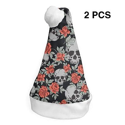 c45b3199e8f Amazon.com  LXXTK 2Pcs Skulls and Rose Christmas Party Hat and Santa ...
