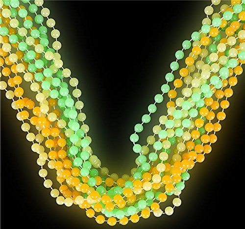 Let Them Glow! Glow In The Dark Party Beads - Bulk Pack One Dozen Beaded (Buy Mardi Gras Beads In Bulk)