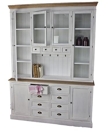 Küchenschrank weiß  elbmöbel Küchenschrank aus Holz in weiß im Landhaus-Stil mit ...