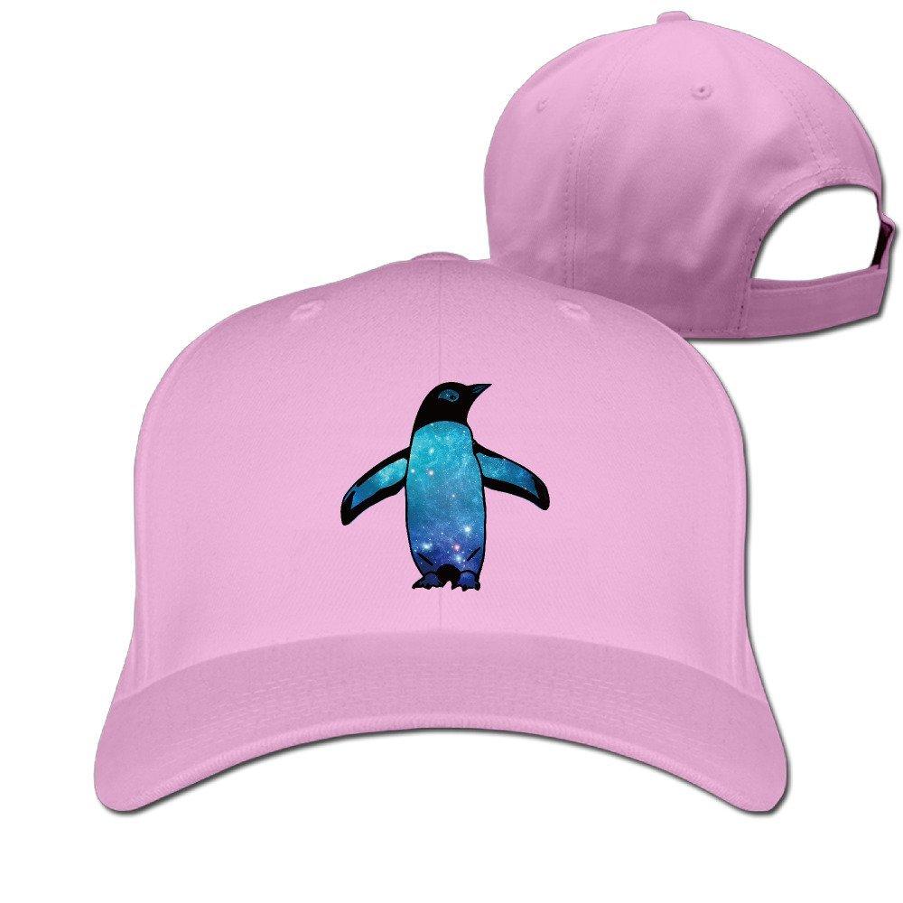 Galaxy Penguin Peaked Baseball Snapback Unisex Hat Black