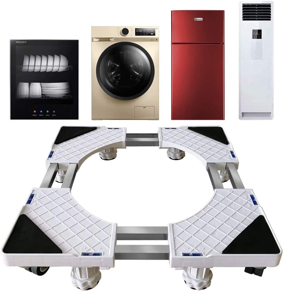 Glenmore Base Lavadora Ajustable Soporte Nevera Lavadora Secadora con 8 Ruedas y 8 Pies para Movil Electrodomesticos