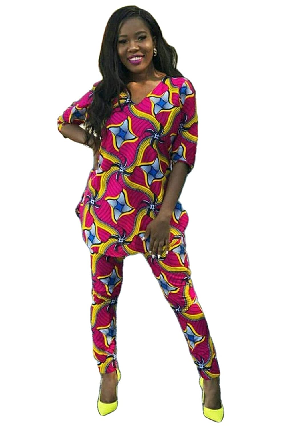 Doris Women's African Print 34 Sleeve Tunic Tops And Long Pants Set At Amazon Clothing Store: African Wedding Dresses Monique Kindl At Reisefeber.org