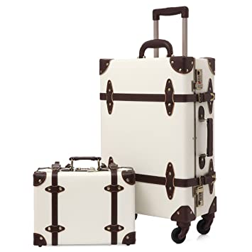7255a351ba00 Travel Vintage Luggage Sets Cute Trolley Suitcases Set Lightweight Trunk  Retro Style for Women Holy White 20