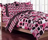 Loft Style Opus Pink Geometric Girls Comforter Bedding Set, Brown, Twin