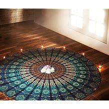 RAJRANG Indian Blue Mandala Round Roundie Beach Throw Tapestry Hippy Gypsy Cotton Tablecloth Hippie Boho Mandala Decor Meditation Yoga Mat Towel Bohemian Spread Cover Sheet