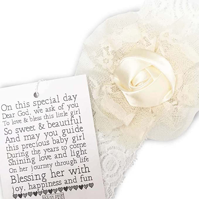 Amazon.com: White Lace Baby Headband With Flower - Perfect Communion, Baptism, Christening or New Baby Gift - With Original Keepsake Poem Ivory One Size: ...