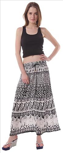 Faldas y bufandas rayón impreso de la mujer largo/Maxi/Gypsy Falda