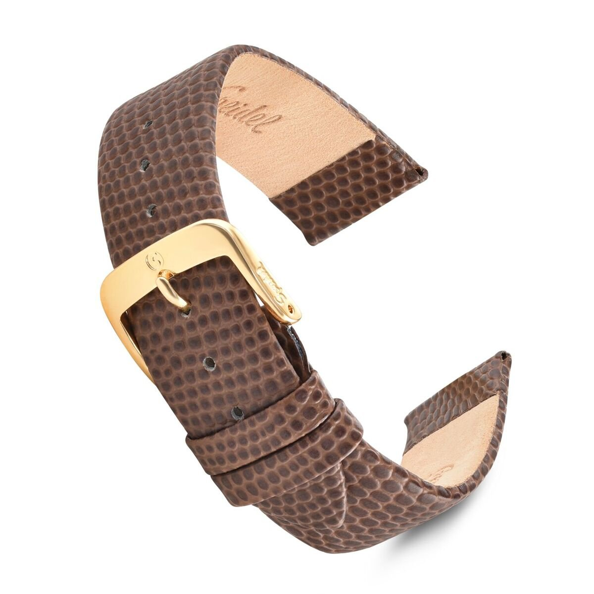 Speidel Genuine Leather Lizard Grain Watch Band 16mm Brown Replacement Strap, Stainless Steel Metal Buckle Clasp, Watchband Fits Most Watch Brands