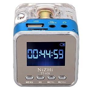 Mini Digital Portable Music MP3/4 Player TF Card USB Disk Speaker FM Radio (Blue)