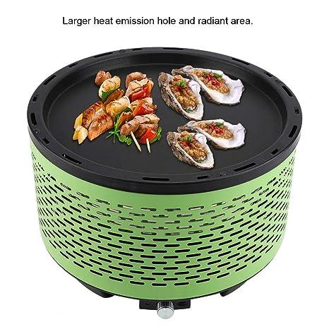 Parrilla de carbón portátil para barbacoa, sin humo, redonda, para jardín, interior, exterior, camping, picnic