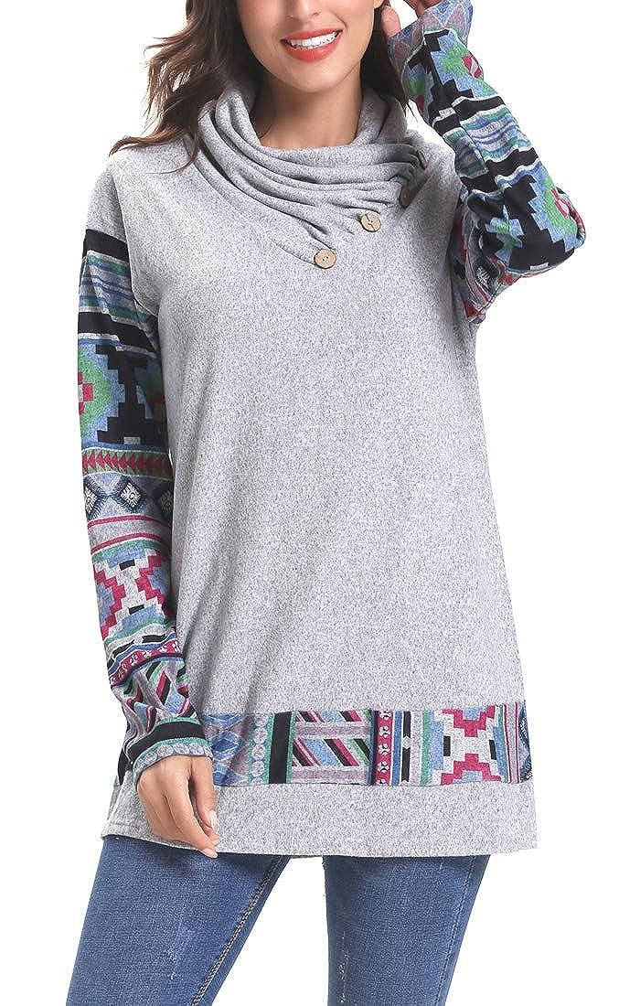 Grey Sipaya Women's Floral Printed Long Sleeve Button Cowl Neck Hoodies Sweatshirts
