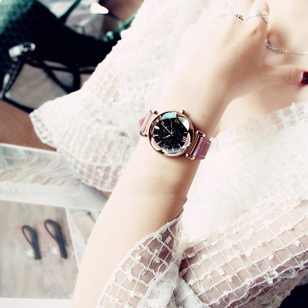 Amiubo Regalo de Reloj de Pulsera de Banda de PU de Cuarzo de Marca Redonda Impermeable para Mujer Relojes de Pulsera