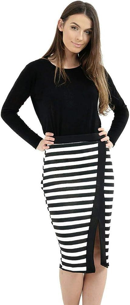 Falda para Mujer a Rayas Negras y Blancas con Abertura Frontal ...