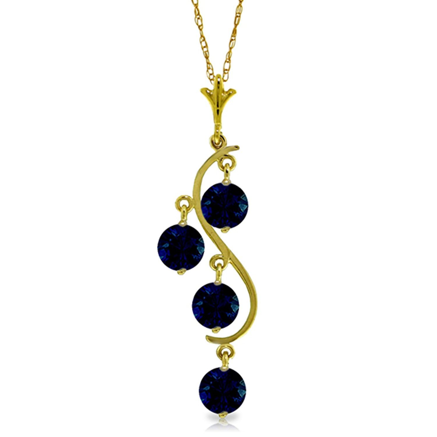 ALARRI 2 CTW 14K Solid Gold Don't Deny Love Sapphire Necklace with 18 Inch Chain Length