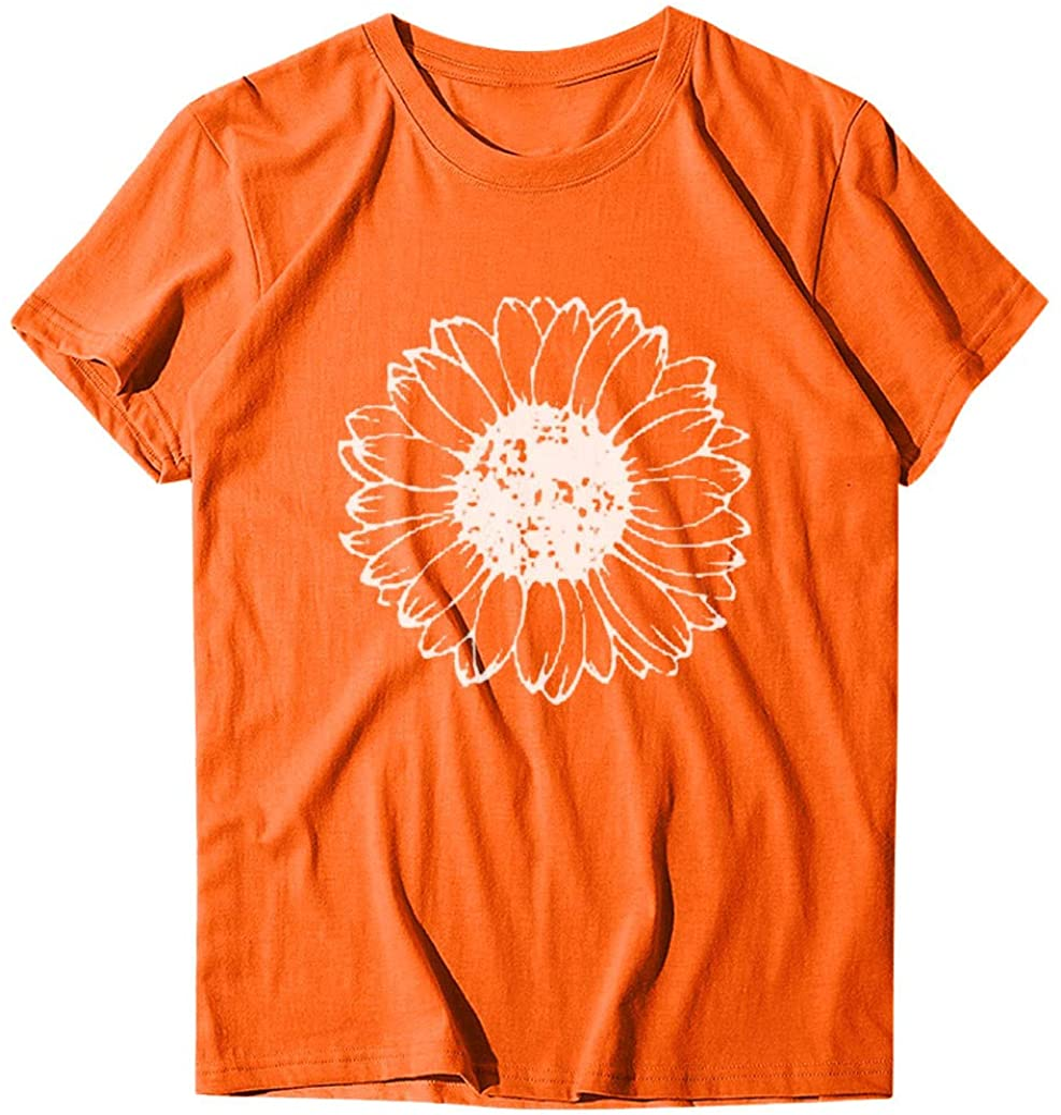 Women Sunflower Print Casual Short Sleeved T-Shirt Plus Size Blouse Tops