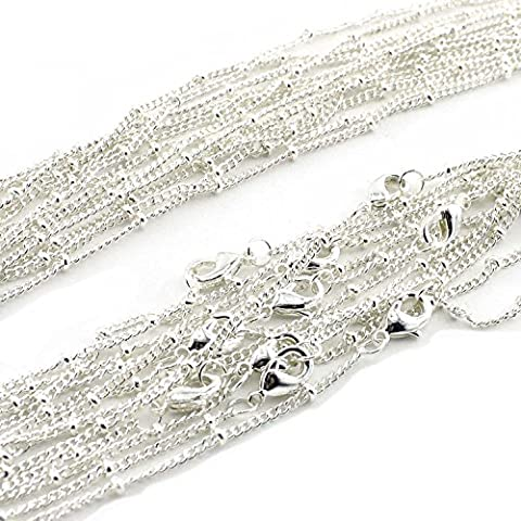 Wholesale 12PCS Silver Plated Solid Brass Beaded Ball Satellite Chains Necklace Bulk Fine Chain for Jewelry Making 16-30 Inches (20 (Chain Necklace Brass)