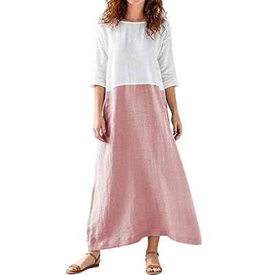 Xyuximi Women's 3/4 Sleeve Color Block Loose Cotton Linen Top Shirt Maxi Long Dress at Women's Clothing store