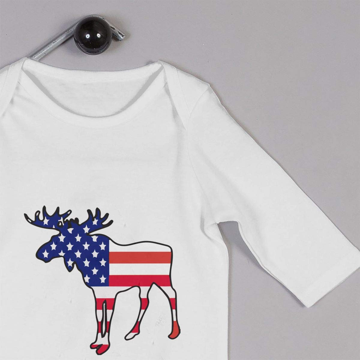 A1BY-5US Infant Baby Boys Girls Cotton Long Sleeve American Flag Moose Baby Clothes Funny Printed Romper Clothes