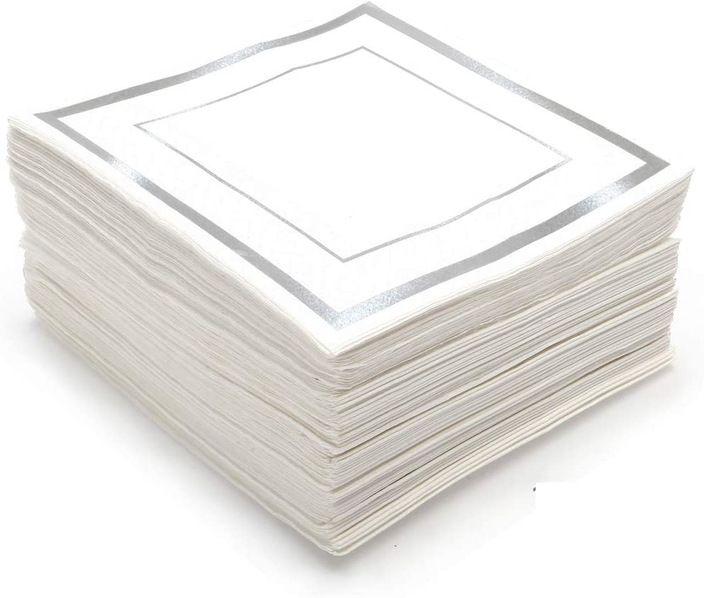 GLAM Silver Party Napkins, Cocktail Size, 100-Pack - 5x5 Silver And White Napkins for Wedding