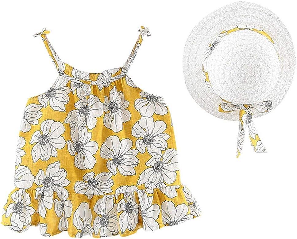 Vestido Beb/és Playa para Cumplea/ños,Vacaciones Falda Corta de Ni/ña Sin Manga Vestido Beb/é Ni/ña Verano Elegante Sombrero de Sol con Lazo Conjunto de 2 Piezas