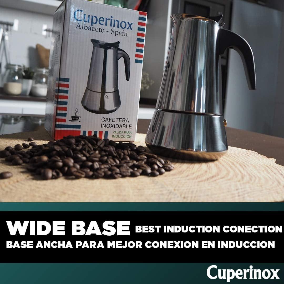 CUPERINOX Cafetera italiana inducción | 2 tazas | cafetera express ...