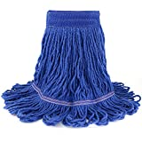 Commerical Grade Winger Mop Head Refill Fit O-Cedar Rubbermaid Heavy Duty Loop-End String Mop Refills Super Stitch Blend Large Mop Heads Replacement (Blue)